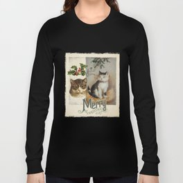 Merry Catmas vintage cat xmas illustration Long Sleeve T-shirt