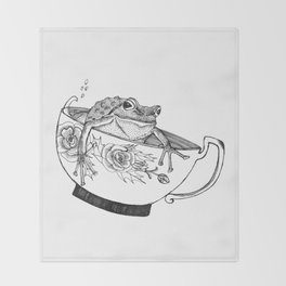 Pacific Northwest Tree Frog Riding in a China Teacup Throw Blanket