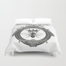 Queen Bee | Vintage Bee with Crown | Black, White and Grey | Duvet Cover