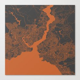 Istanbul Map orange Canvas Print