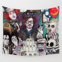 tim burton Wall Tapestries featuring TIM BURTON TEA PARTY by ●•VINCE•●