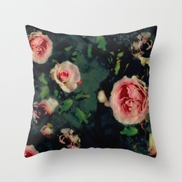 Big Pink Roses and Green Leaves Graphic Throw Pillow