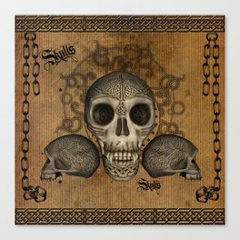 Awesome skulls with celtic knot Canvas Print