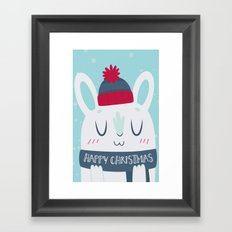 Cozy Winter Rabbit Christmas Card Framed Art Print