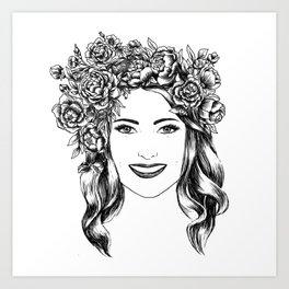 portret with pion Art Print