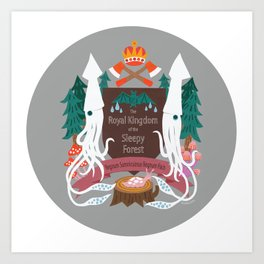 The Royal Kingdom of the Sleepy Forest (coloured circle) Art Print