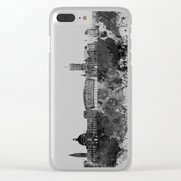 Cardiff skyline in black watercolor Clear iPhone Case