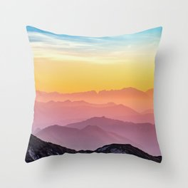 sky blue yellow orange purple Throw Pillow