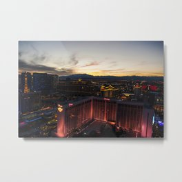 Las Vegas Strip from the Highroller at dusk Metal Print