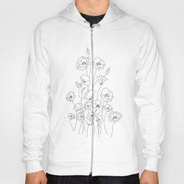 Poppy Flowers Line Art Hoody