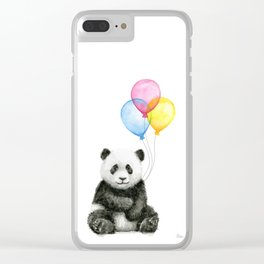 Panda Baby with Balloons Whimsical Nursery Animals Clear iPhone Case