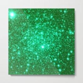 Emerald Green Glitter Stars Metal Print