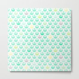 Rebel Alliance on White in Green and Yellow Pastels Metal Print