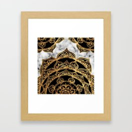 Gold Lace on Marble Framed Art Print