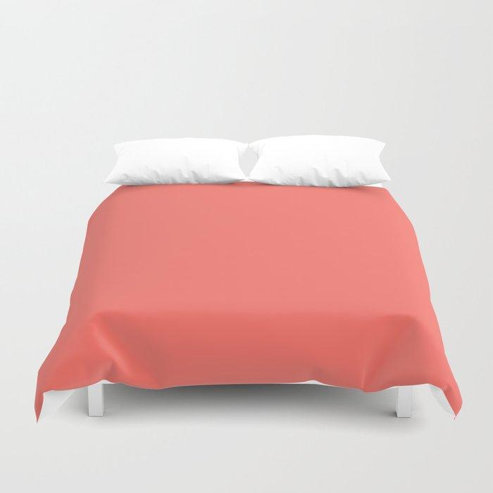 Living Coral Pantone Solid Color Block Bettbezug