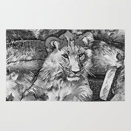 AnimalArtBW_Lion_20171014_by_JAMColorsSpecial Rug