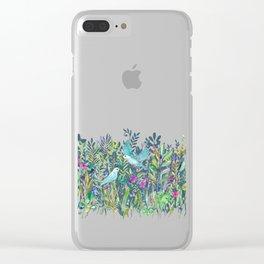 Little Garden Birds in Watercolor Clear iPhone Case