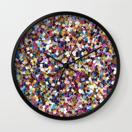 Colorful Rainbow Glittering Confetti Wall Clock