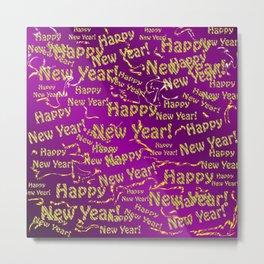 purple Happy new year text in gold, beautiful reindeer, green fir trees, bright stars festive Metal Print