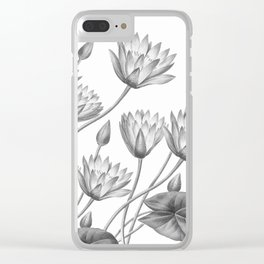 Water Lily Black And White Clear iPhone Case