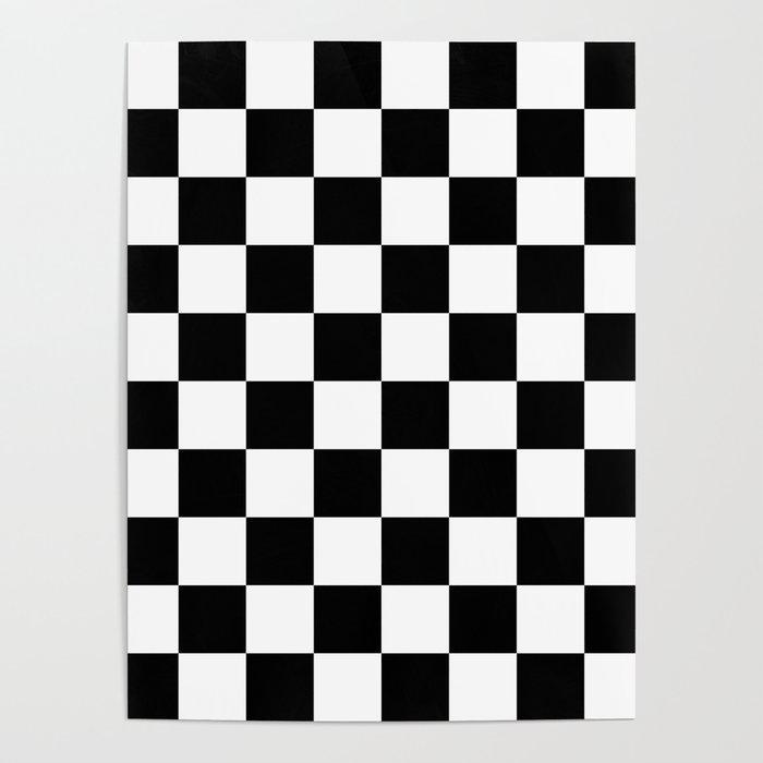 Black White Checker Checkerboard Checkers Poster