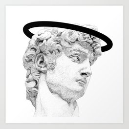 Profile of David statue by Miguel Angel (aura) Art Print