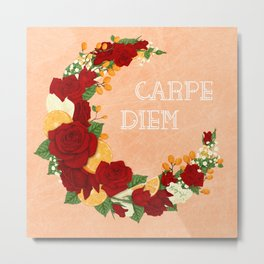 Crescent Bloom | Red roses and oranges Metal Print