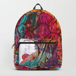 Beautiful tropical illustration colorful pineapple Backpack