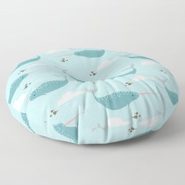 Narwhal blue Floor Pillow