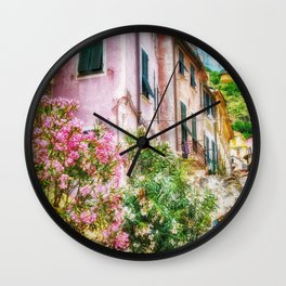 Monterosso Pink Flowers, Cinque Terre, Italy Wall Clock