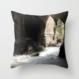 The Way Out of Box Canyon Falls Throw Pillow