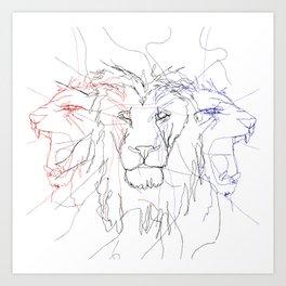 Three Lions Art Print