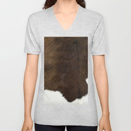 Brown and White Cowhide Unisex V-Neck
