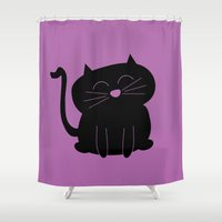 kitty Shower Curtains featuring Kitty by 2hootsdesign