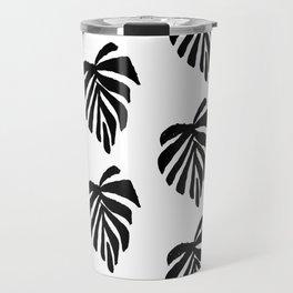 Monstera leaf pattern black and white linocut minimal tropical leaves pattern minimalist Travel Mug