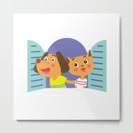 Couple of dog and cat look out from the window Metal Print