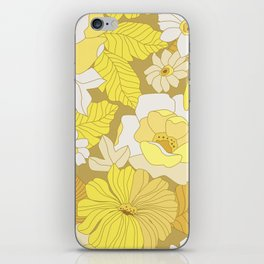 Yellow, Ivory & Brown Retro Flowers iPhone Skin