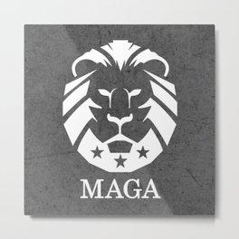 MAGA Make America Great Again USA Lion black grunge Metal Print