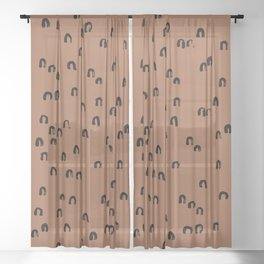 Minimal ink pattern abstract lucky rainbow brush copper Sheer Curtain