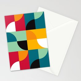 Geometric Pattern 31 (yellow red green curves) Stationery Cards