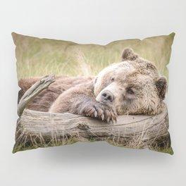 Big Beautiful Grizzly Bear Relaxing In Green Meadow Close Up Ultra HD Pillow Sham