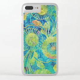 Green Flowers Blue Sky Clear iPhone Case