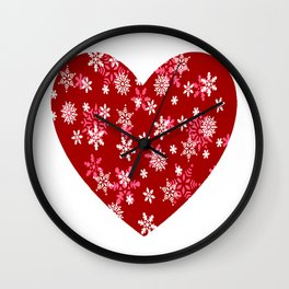 Red Heart Of Snowflakes Loving Winter and Snow Wall Clock