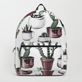 Happy Cacti in Rose Gold Pots Pattern Backpack