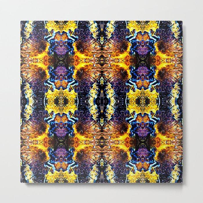 Mystic Yellow Blue Ornament Pattern Metal Print