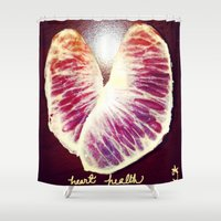 health Shower Curtains featuring Blood Red Orange Heart Health by ANoelleJay