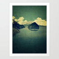 blues Art Prints featuring Distant Blues by Kijiermono