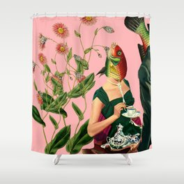 fish soul mate pink #collage Shower Curtain