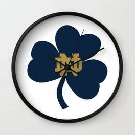 Notre Dame on Blue Clover Wall Clock