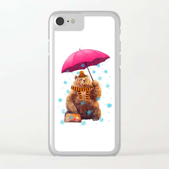 Winter bear Clear iPhone Case